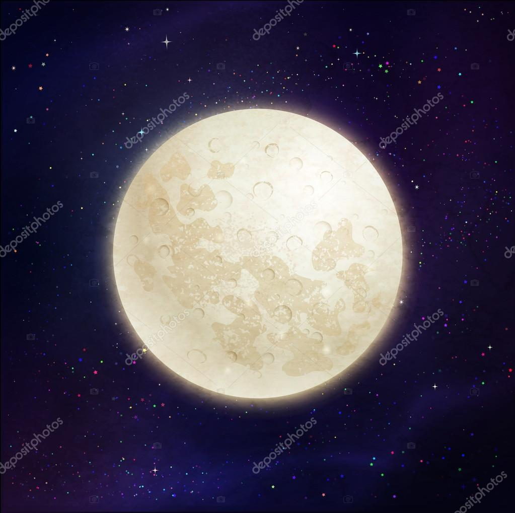 Full moon space background.