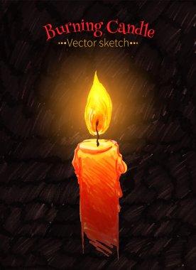 Burning candle illustration.