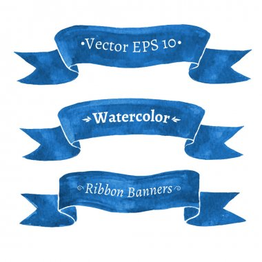 Watercolor set of blue ribbon banners