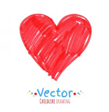 Childlike drawing of heart
