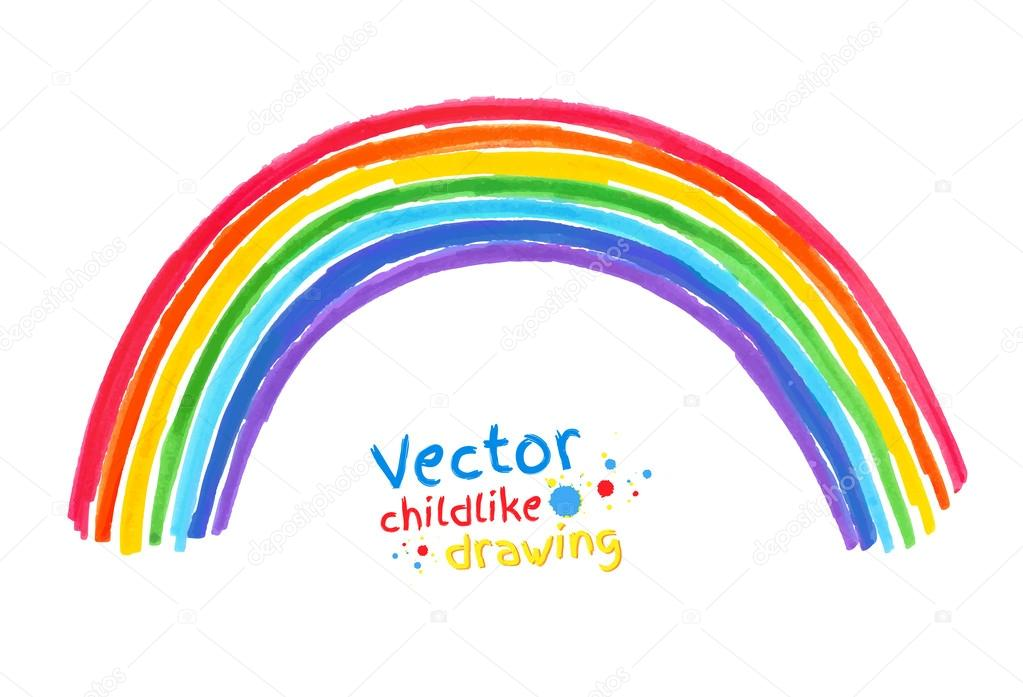 Childlike drawing of rainbow