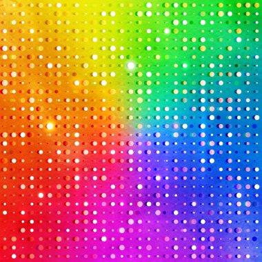 Disco lights on rainbow background