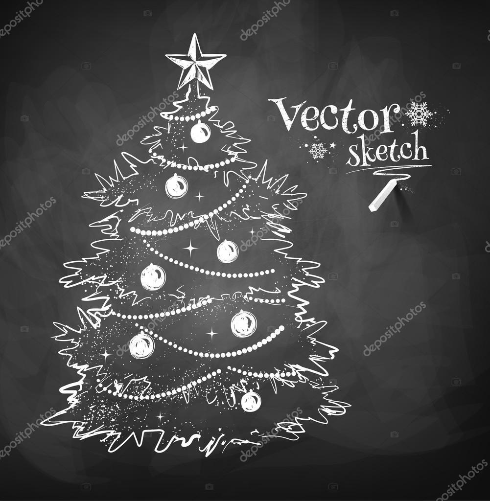 Christmas tree drawn