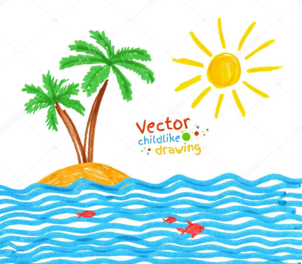 Childlike drawing of seaside.