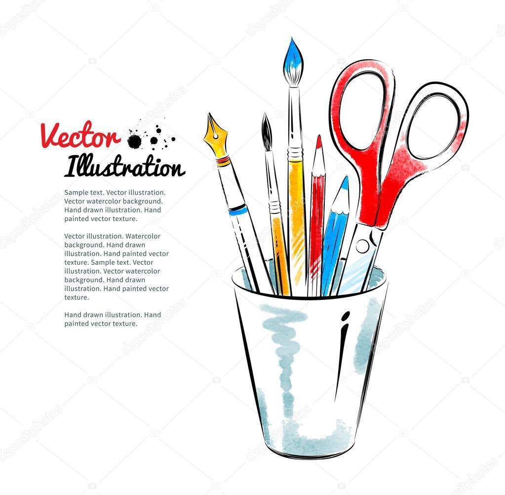 Brushes, pen, pencils  in holder.