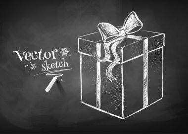 Chalkboard drawing of gift box. Vector illustration. Isolated. stock vector