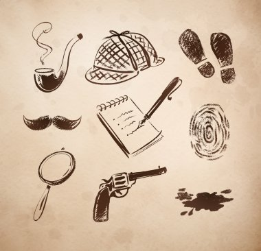 Detective sketch icons set.