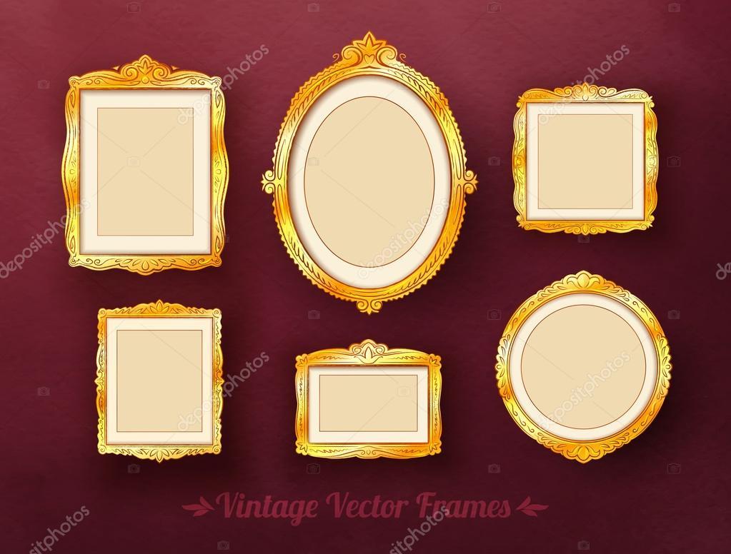 Vintage baroque golden frames set — Stock Vector ...