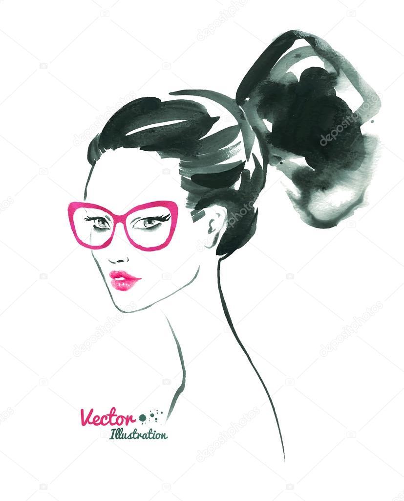 Watercolor fashion woman