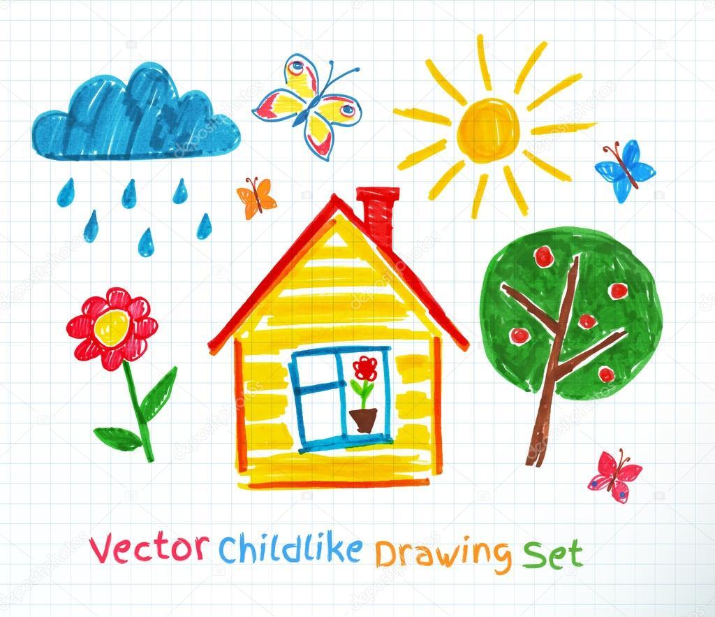 Childlike drawing on school paper