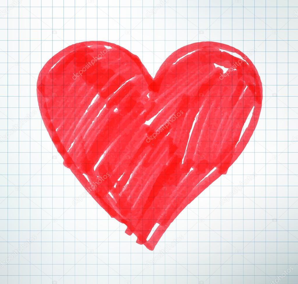 Felt pen drawing of Valentine heart