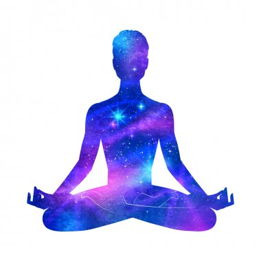 Meditation male silhouette