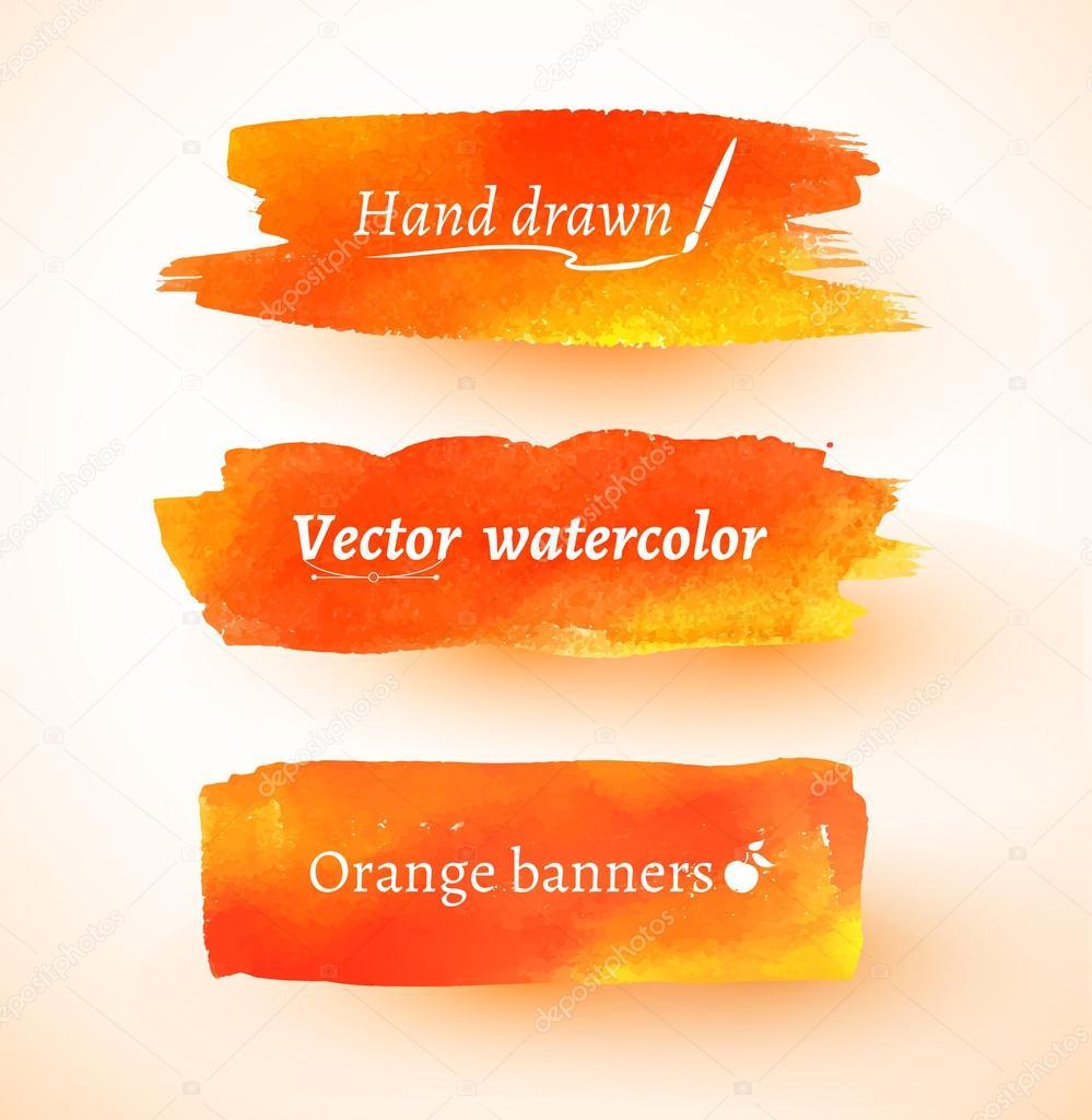 Orange watercolor banners.