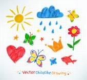Fotografie Summer felt pen child drawing