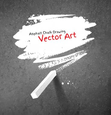 Chalked bubble drawn on asphalt background. Peace of white chalk. Vector illustration. stock vector
