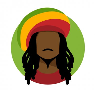 Rastafarian man with long hair