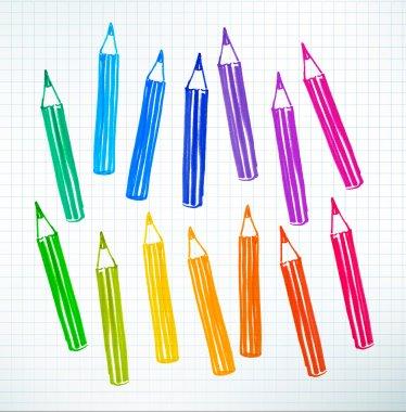 Felt pen drawing of colored pencils