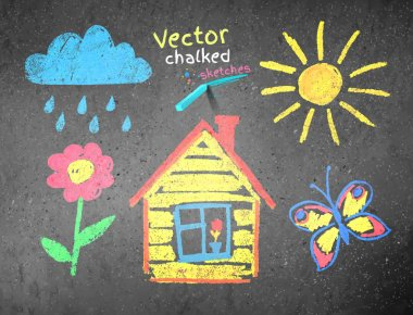 Chalked kids drawing on asphalt background. Vector illustration. stock vector