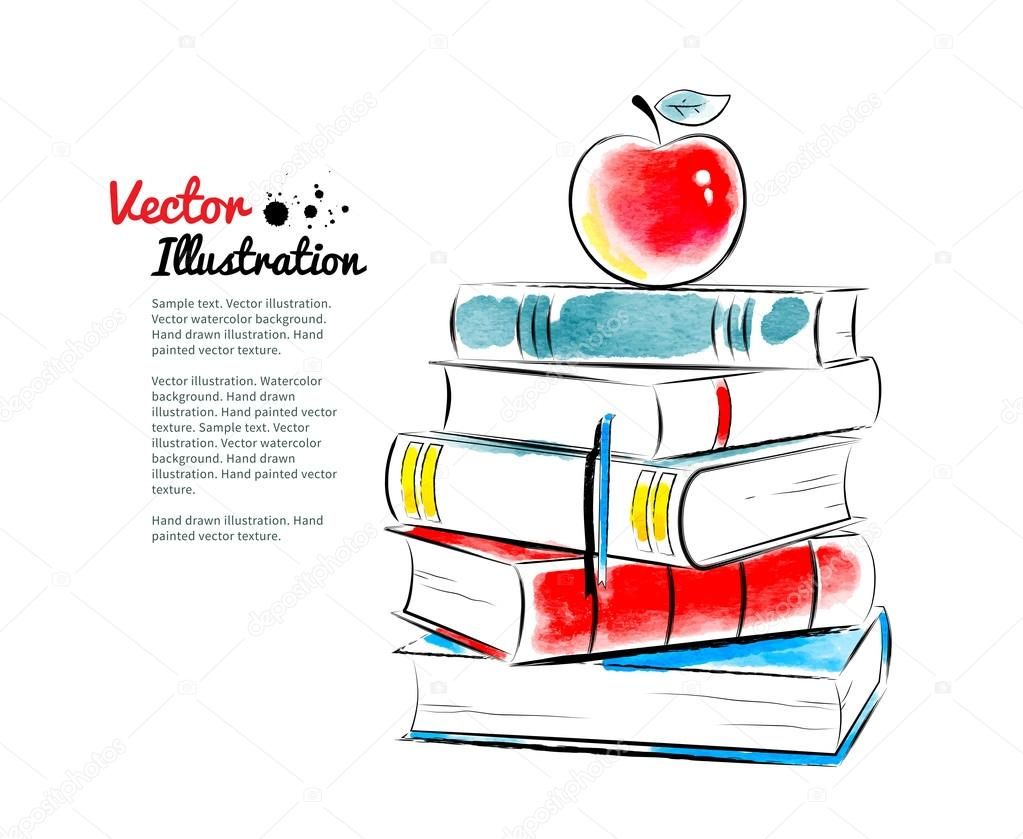 Red apple on books. Vector watercolor illustration. stock vector