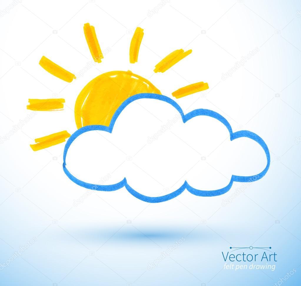 Sun and cloud. Felt pen drawing