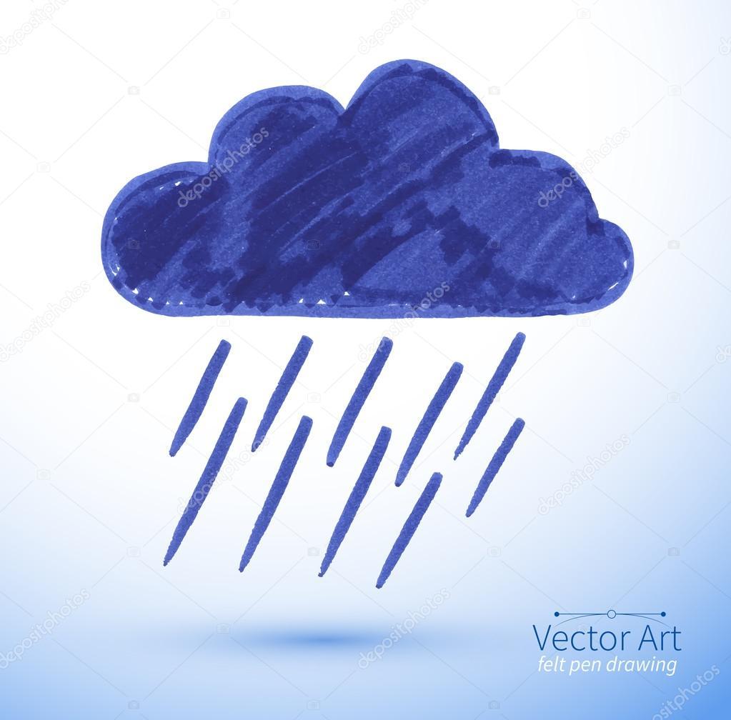 Felt pen drawing of rainy cloud.