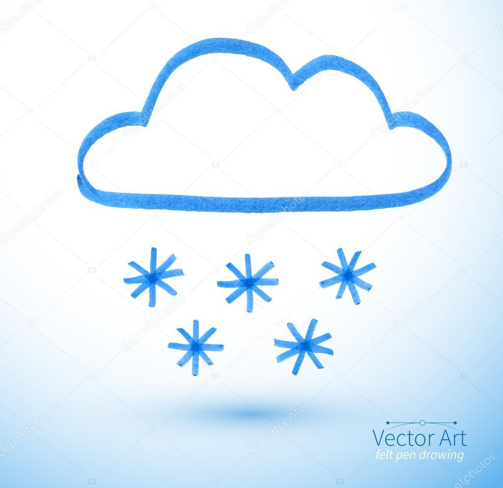 Felt pen drawing of snowy cloud.
