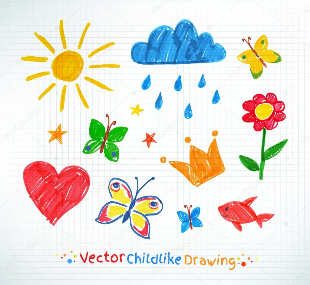 Summer felt pen child drawing
