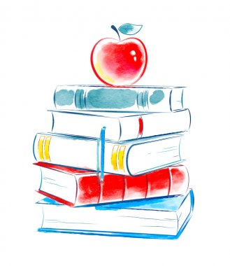 Watercolor apple on books.