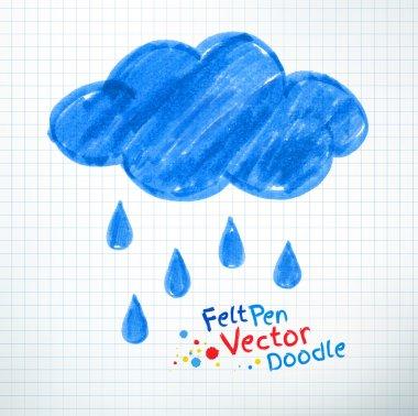 Felt pen childlike rainy cloud