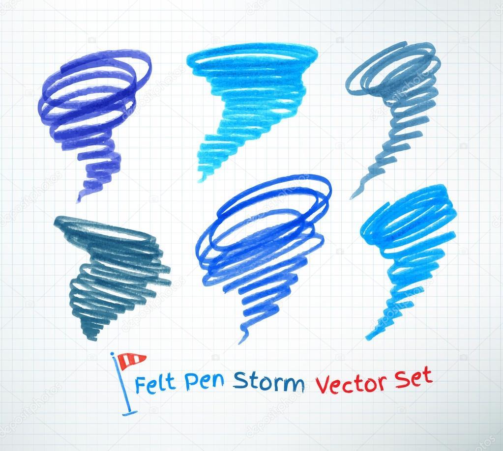 Hand drawn hurricane symbols