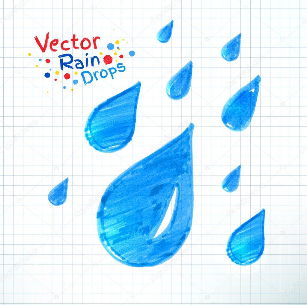 Felt pen rain drops