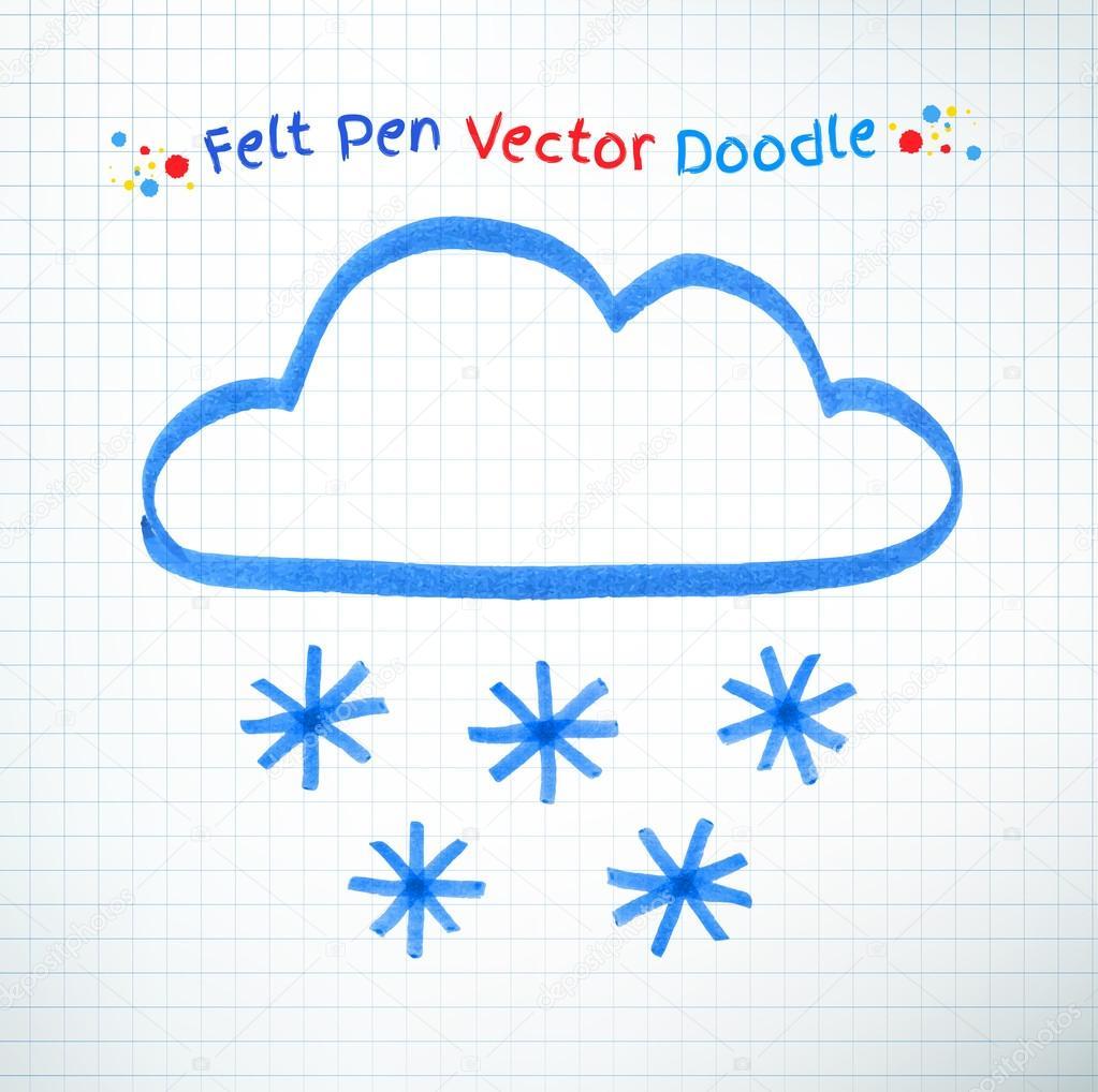Felt pen Snowy cloud