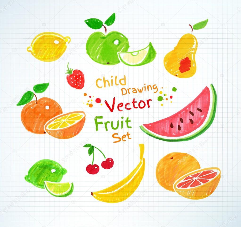 Felt pen drawings of fruits