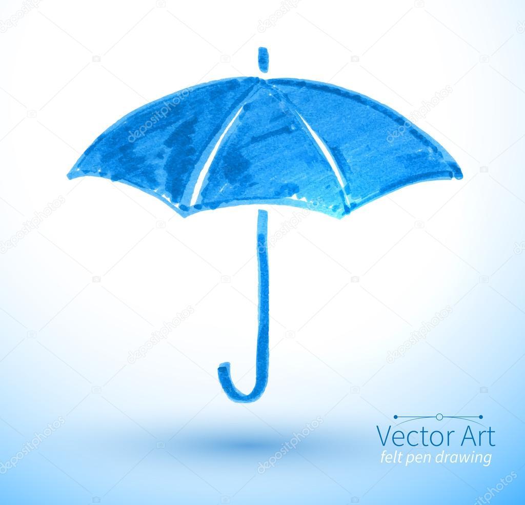 Felt pen illustration of umbrella