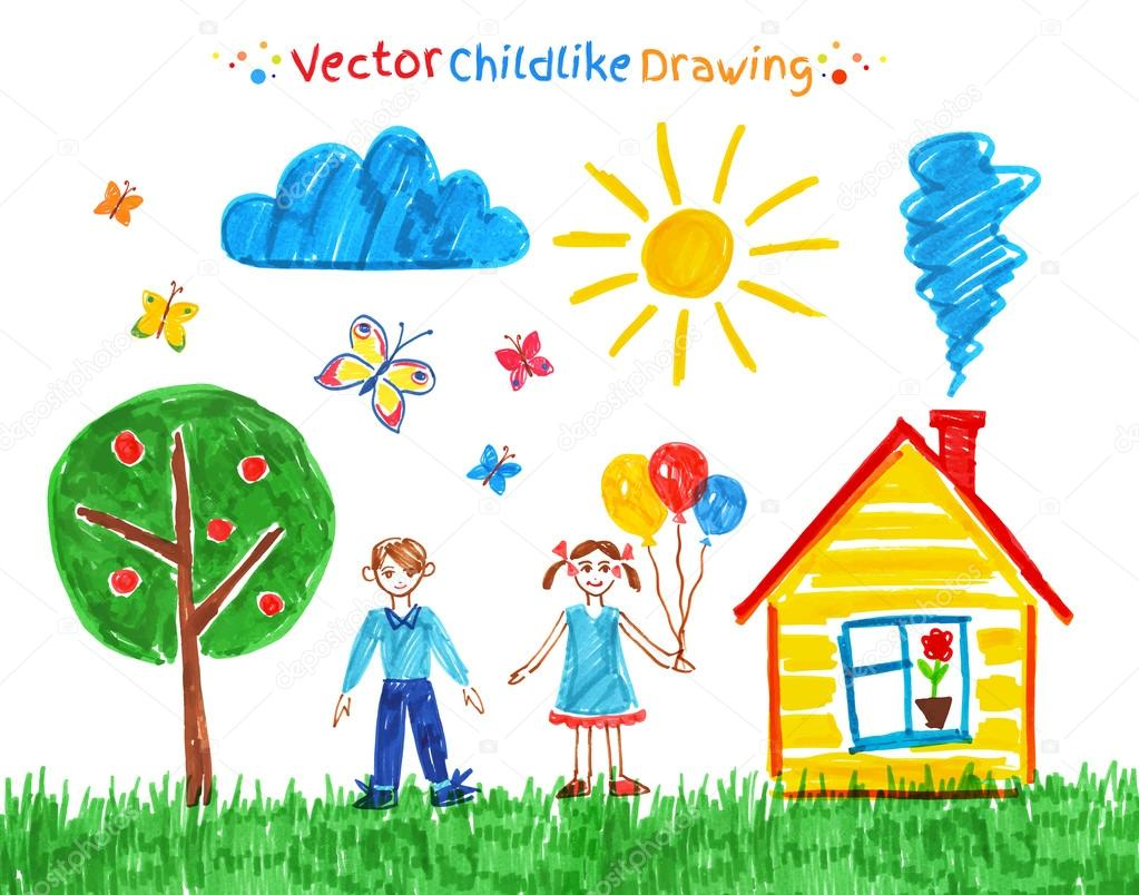 Felt pen child drawing