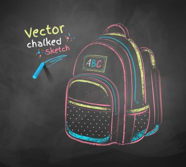 chalk drawing of school bag.
