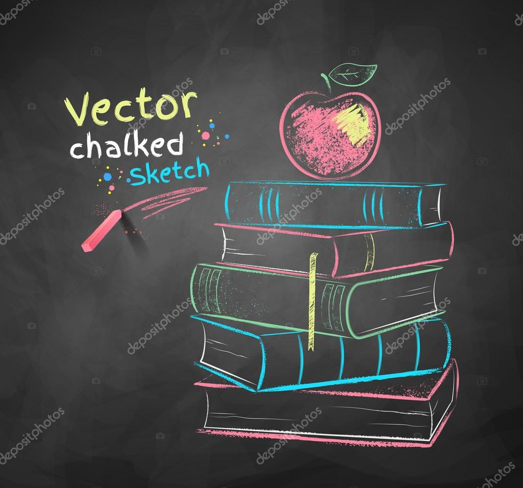 chalk drawing of apple on books