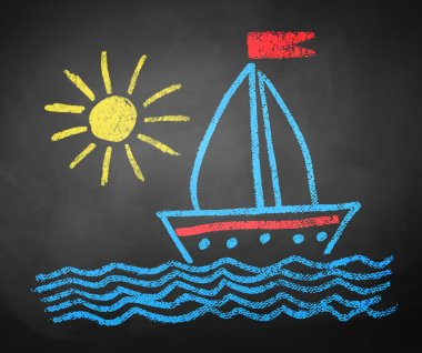 Chalked drawing of ship