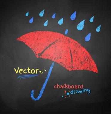 Color chalked umbrella