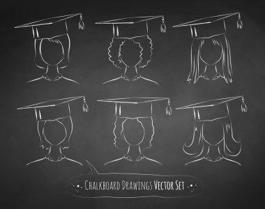 Chalkboard drawings of students