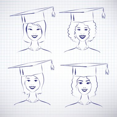 students wearing graduation hats