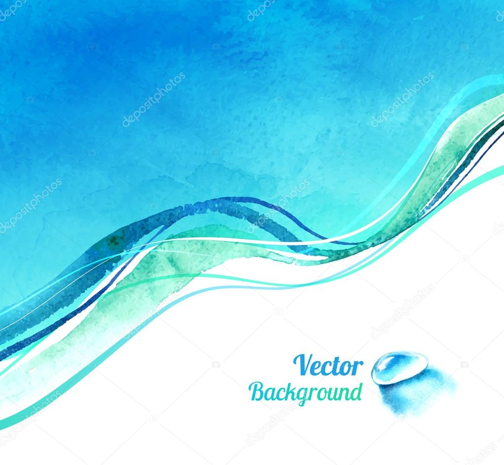 Watercolor background with waves