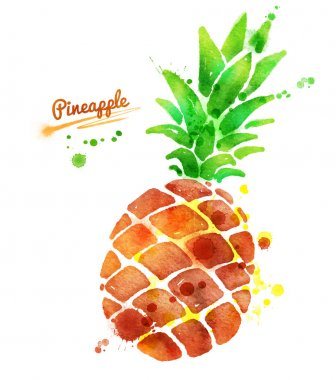 Pineapple with paint splashes