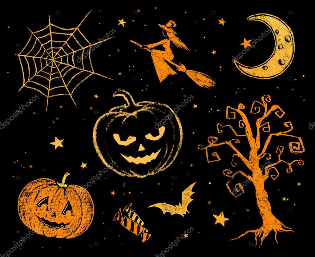 Chalked halloween drawings stock photo sonya - Image de halloween ...