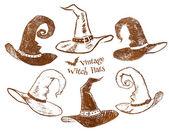 Ruční nakreslení čarodějnice klobouky