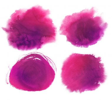 purple watercolor stains collection.