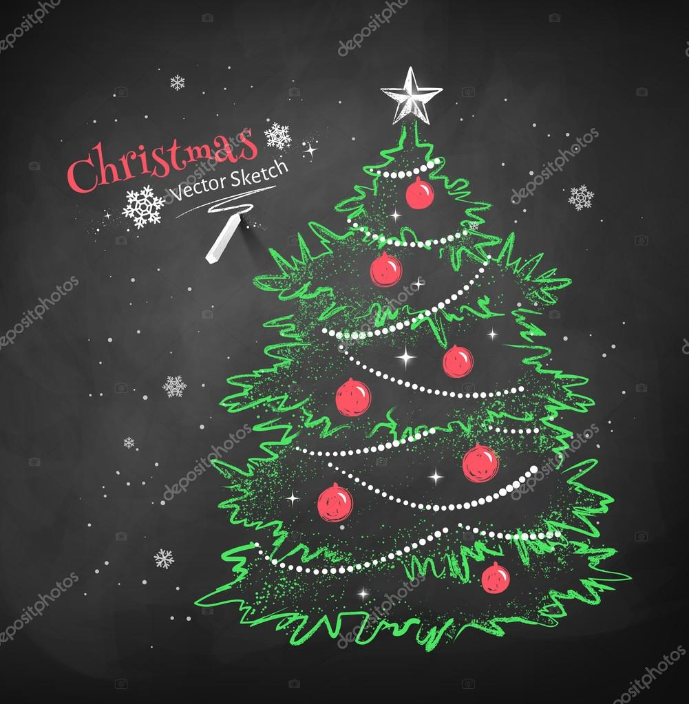 Christmas tree on black chalkboard background christmas tree on black chalkboard background voltagebd Choice Image
