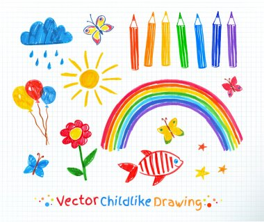 Childlike drawing set