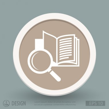 Book with magnifying glass icon