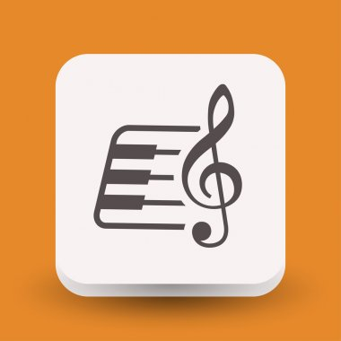 Pictograph of music key and keyboard icon